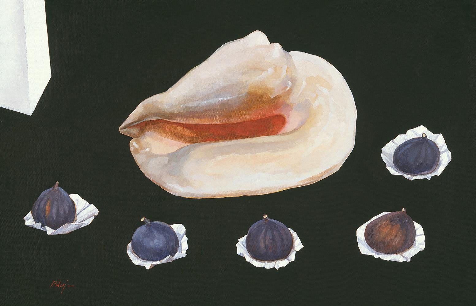 """,,Martwa natura z muszlą i figami""""  45 × 70 cm  2014 r."""