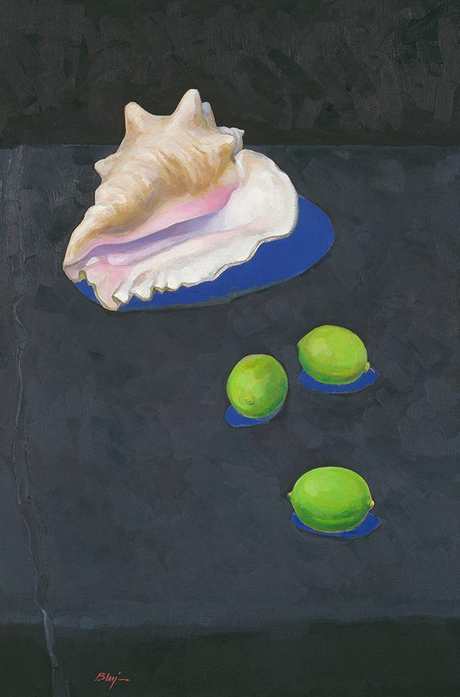 """,,Martwa natura z muszlą i limonkami""""  70 × 46 cm  2013 r."""